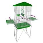 Mini Viveiro Gaiola Teto Plástico para Pássaros Calopsita Mansa Cor Verde