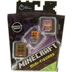 Minicraft Mini Figuras - Pack com 3 - 4 Serie Obsidianos - Zumbi Invasor - Skeleton - Alex