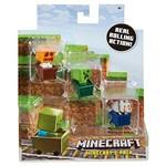 Minicraft Mini Figuras - Pack com 3 - com Carrinho - Golem de Neve - Creeper - Lobo