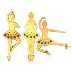 Mobili Aplique Bailarina Flores 3Pçs - MDF a Laser