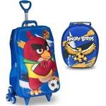 Mochila Escolar 3D com Rodinhas e Lancheira MaxToy Angry Birds Futebol