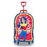 Mochila Escolar 3D com Rodinhas Superhero Girls: Mulher Maravilha - Maxtoy