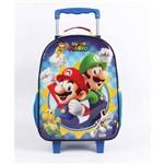 Mochila Escolar de Carrinho Super Mario Bros Grande 2 Bolsos Dmw