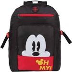 Mochila Escolar Mickey Geek Grande 3 Bolsos Preta Dermiwil