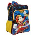 Mochila Grande Mickey Mouse 19m Plus com Bolso Azul Original