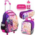 Mochila Sestine Rodinhas Barbie Rock Estojo e Lancheira Roxa Kit