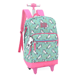 Mochila Up4you Unicórnio com Rodas Verde