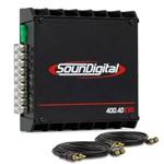 Módulo Soundigital SD400 4D Evolution II 400w RMS 4 Canais + 2 Cabos RCA de 5 Metros