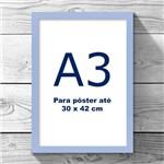 Moldura Azul Claro A3 Sem Vidro Quadro 30x42cm