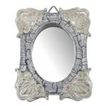 Moldura Colonial Cantoneira e Oval com Espelho Branco e Cinza Craquelê 10x13cm - Resina
