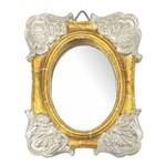 Moldura Colonial Cantoneira e Oval com Espelho Dourado e Branco Craquelê 10x13cm - Resina