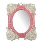 Moldura Colonial Cantoneira e Oval com Espelho Rosa e Branco Craquelê 10x13cm - Resina