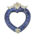 Moldura Coração Colonial Cantoneira com Espelho Azul e Branco Craquelê 13,5x9,2cm - Resina