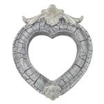 Moldura Coração Colonial Cantoneira com Espelho Branco e Cinza Craquelê 13,5x9,2cm - Resina
