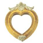 Moldura Coração Colonial Cantoneira com Espelho Dourado e Branco Craquelê 13,5x9,2cm - Resina
