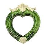 Moldura Coração Colonial Cantoneira com Espelho Verde e Branco Craquelê 13,5x9,2cm - Resina