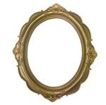 Moldura Oval Provençal Arabesco Flor Dourado 31x26x1,5cm - Resina