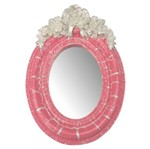 Moldura Provençal Oval Rosas com Laço com Espelho Rosa e Branco Craquelê 9,5x14cm - Resina
