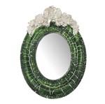 Moldura Provençal Oval Rosas com Laço com Espelho Verde e Branco Craquelê 9,5x14cm - Resina