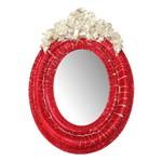 Moldura Provençal Oval Rosas com Laço com Espelho Vermelho e Branco Craquelê 9,5x14cm - Resina