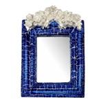 Moldura Provençal Retangular Rosas com Laço com Espelho Azul e Branco Craquelê 13,5x9,2cm - Resina