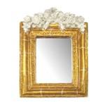 Moldura Provençal Retangular Rosas com Laço com Espelho Dourado e Branco Craquelê 13,5x9,2cm - Resina