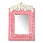Moldura Provençal Retangular Rosas com Laço com Espelho Rosa e Branco Craquelê 13,5x9,2cm - Resina