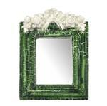 Moldura Provençal Retangular Rosas com Laço com Espelho Verde e Branco Craquelê 13,5x9,2cm - Resina