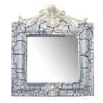 Moldura Provençal Retrato Cantoneira com Espelho Branco e Cinza Craquelê 13,5x11cm - Resina