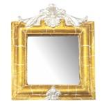 Moldura Provençal Retrato Cantoneira com Espelho Dourado e Branco Craquelê 13,5x11cm - Resina