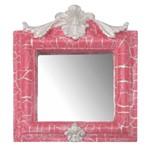 Moldura Provençal Retrato Cantoneira com Espelho Rosa e Branco Craquelê 13,5x11cm - Resina