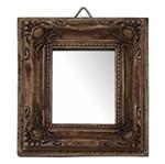 Moldura Quadrada com Borda Cantoneira com Espelho Betume 11x10cm - Resina