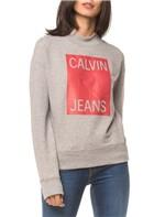 Moletom Ckj Fem Calvin Jeans - Mescla - P