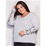 Moletom Plus Size com Bordado Manual Nas Mangas P