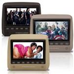 Monitor Tela Encosto de Cabeca 7 Polegadas LCD Botoes Touchcreen com Controle Escravo Preto