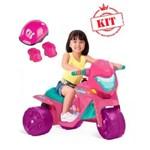 Moto Ban Elétrica Gatinha 6v Rosa 2593 Mais Kit Proteção Kcp-02 Pink