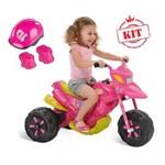 Moto Xt3 Super Esporte Elétrica 6v Rosa Mais Kit de Proteção Rosa