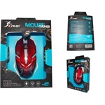 Mouse Gamer Led Luminoso Knup Kp-V15 Pc USB 1600 DPI 3 Botões Vermelho