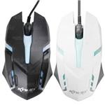 Mouse Gamer Optico USB 1600Dpi Branco/Preto - KP-V40