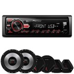 "Mp3 Player Pioneer Mvh-98ub 1 Din + Kit 2 Vias Bomber Upgrade 6"" 400w Rms"