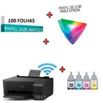 Multifuncional Epson Ecotank Wifi L3150 Sublimatica + Tinta + 100fls Papel Sublimático
