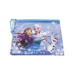 Necessaire Azul Anna, Elsa & Olaf Frozen 17x21cm - Disney