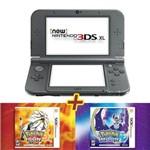 New Nintendo 3ds Xl Preto + Jogo Pokemon Sun + Jogo Pokemon Moon