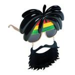 Óculos com Dread Hippie com Barba Acessório para Carnaval