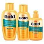 Óleo de Argan Pós Química Niely Gold - Shampoo + Condicionador + Creme de Pentear Kit