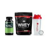 On Whey 100% 837g (Baunilha) + Bcaa 60 Caps - Optimum Nutrition