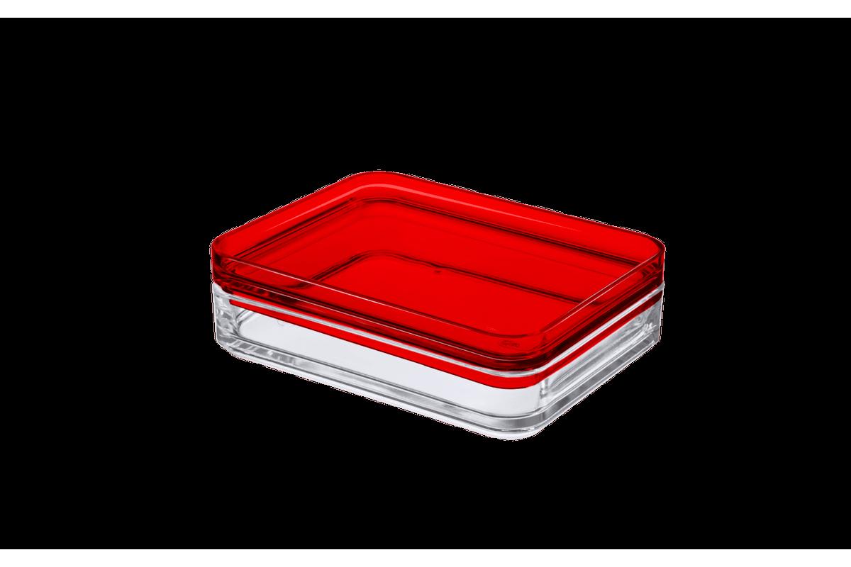 Porta Frios - MOD 15,9 X 12,3 X 4,4 Cm Cristal com Vermelho Coza