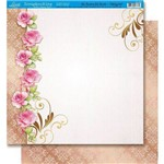 Página para Scrapbook Dupla Face Litoarte 30,5 X 30,5 Cm - Modelo Sd-026 Rosas com Arabesco