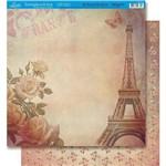 Página para Scrapbook Dupla Face Litoarte 30,5 X 30,5 Cm - Modelo Sd-060 Torre Eiffel Feminino