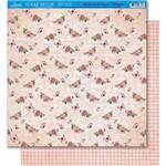 Página para Scrapbook Dupla Face Litoarte 30,5 X 30,5 Cm - Modelo Sd-432 Padrão Flor/Quadriculado